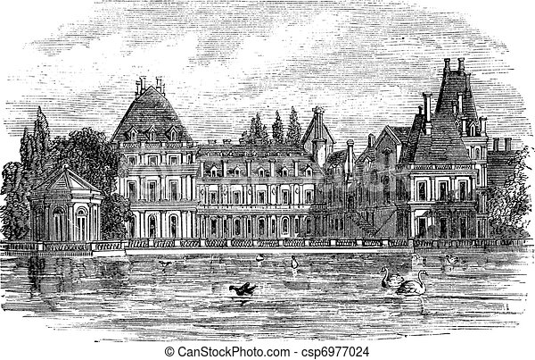 Fontainebleau Palace in Paris, France, vintage engraving - csp6977024