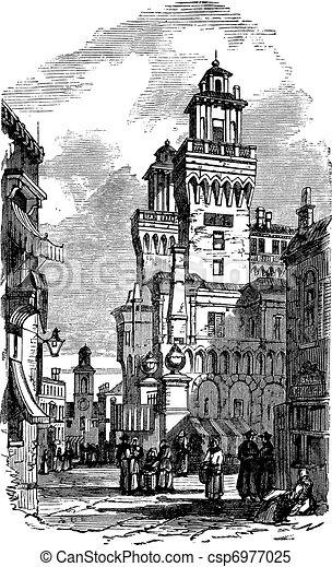 Castle Estense or Castle of Saint Michele in Ferrara, Italy, vintage engraving - csp6977025