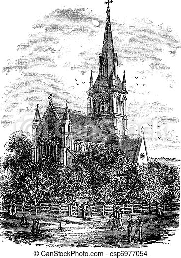 Christ Church Cathedral in Fredericton, New Brunswick, Canada vintage engraving - csp6977054