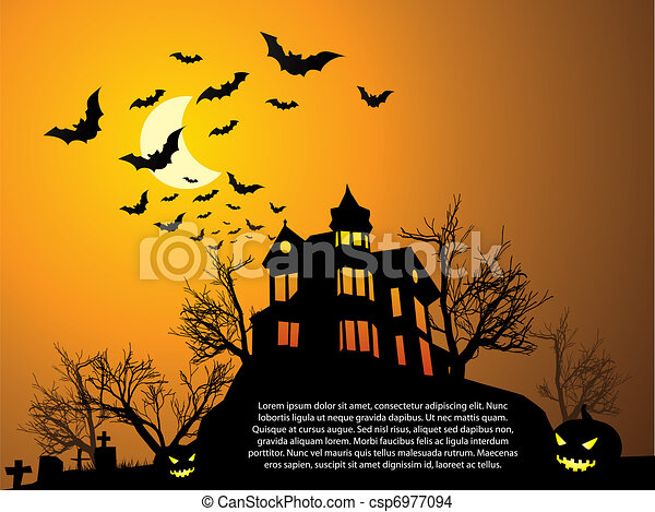 Halloween with haunted house, bats and pumpkin - csp6977094
