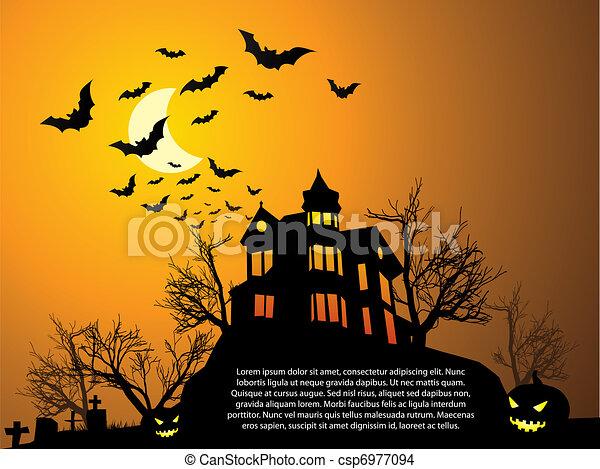 vettore eps di pipistrelli  frequentato  halloween  casa Black Halloween Pumkins halloween graveyard clipart