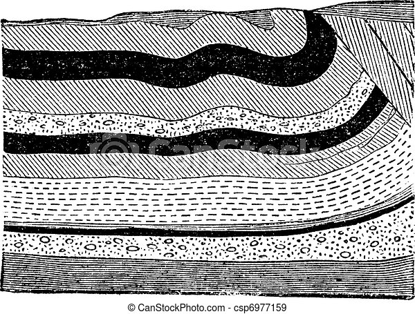 Illustration of coal beds in layers in the ground, vintage engraving. - csp6977159