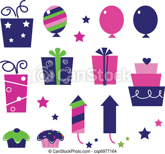 Cute icons collection in vibrant tones. Vector cartoon collection. - csp6977164