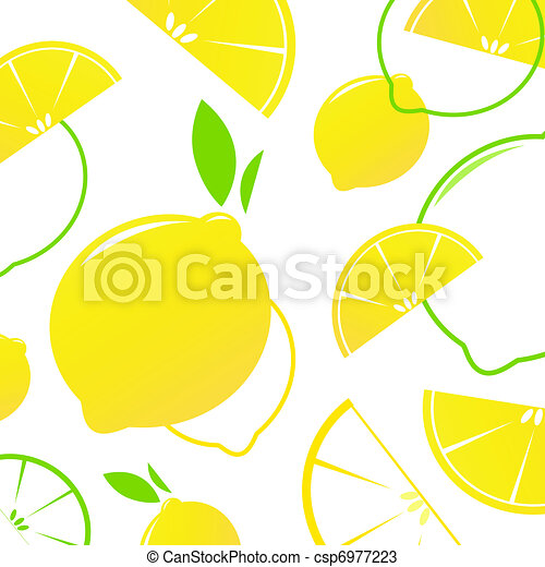 Fresh stylized Fruit - Lemon slices isolated on white. Vector Background.