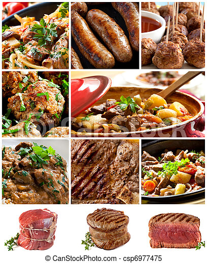 Beef Images Collage - csp6977475