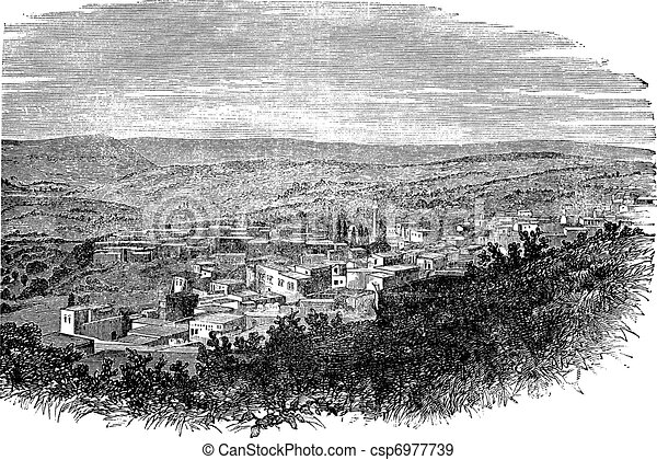 Nazareth in North District, Israel, vintage engraved illustration - csp6977739