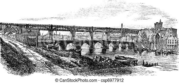 Newcastle upon Tyne in England, UK, vintage engraved illustration - csp6977912