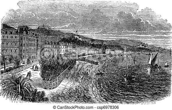 Promenade des Anglais in Nice, France, vintage engraved illustration - csp6978306