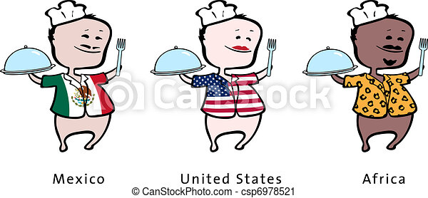 Chef of restaurant from Mexico, United States, Africa - vector illustration - A mexican chef, an american chef, an african chef - csp6978521