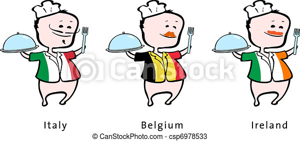Chef of restaurant from Italy Belgium, Ireland - vector illustration - An italian chef, a belgium chef, an irish chef - csp6978533