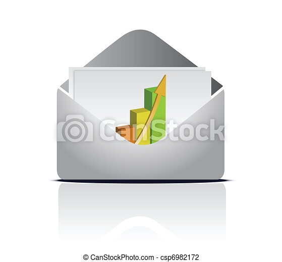 Envelope with report. Charts - csp6982172
