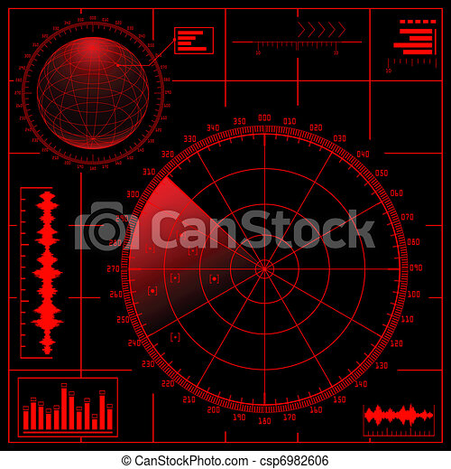 Digital Radar screen with globe. - csp6982606