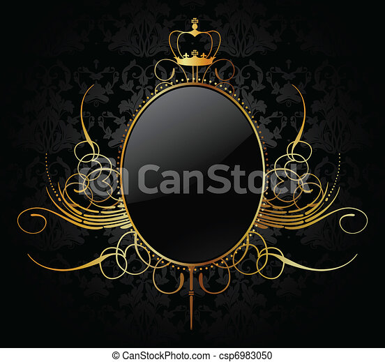 Royal vector background with golden frame - csp6983050