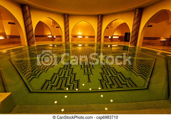 Bathing pool inside of Hammam turkish bath - csp6983710