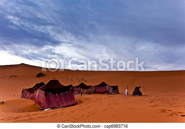 Bedouin tents in the Sahara Desert - csp6983716