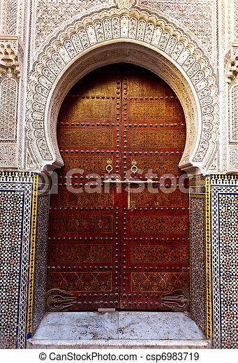 Stock fotografieken van houten moskee deur buitenkant for Decoration porte exterieure