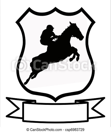 Horse Racing or Show Jumping  Sport Shield - csp6983729