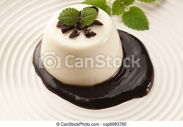 Panna Cotta with chocolate and vanilla beans - csp6983760