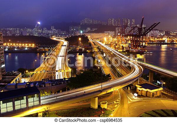Cargo Terminal and highways in Hong Kong - csp6984535