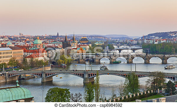 View on Prague Bridges - csp6984592