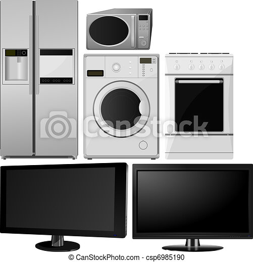 collection of household appliances. vector - csp6985190