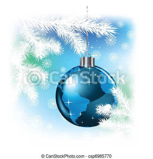 Christmas background with planet - csp6985770