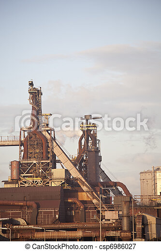 Heavy steel industry at steel factory - csp6986027