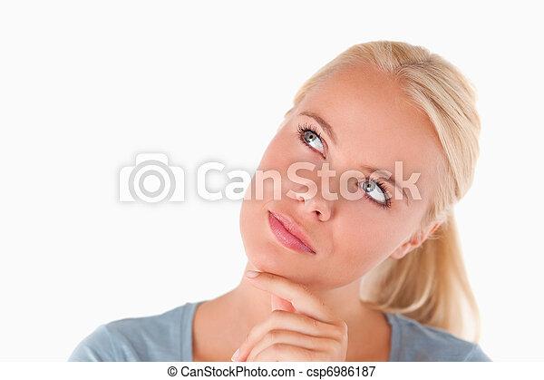 Pensive blond woman - csp6986187