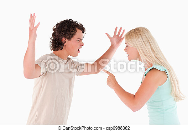 Unhappy couple arguing - csp6988362