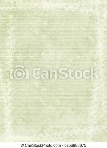 Grunge Ribbed Paper Background with White Chalk Border  - csp6988675