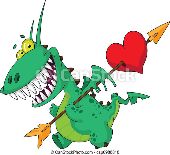 funny dragon with heart - csp6988818