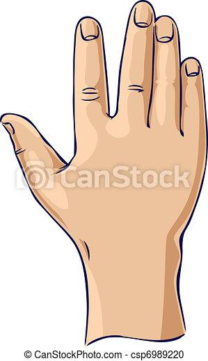 Hand raised in an open hand gesture - csp6989220