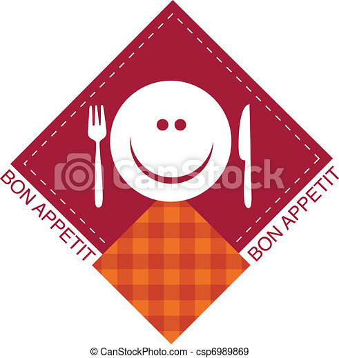 happy smiley face with fork and knife - csp6989869