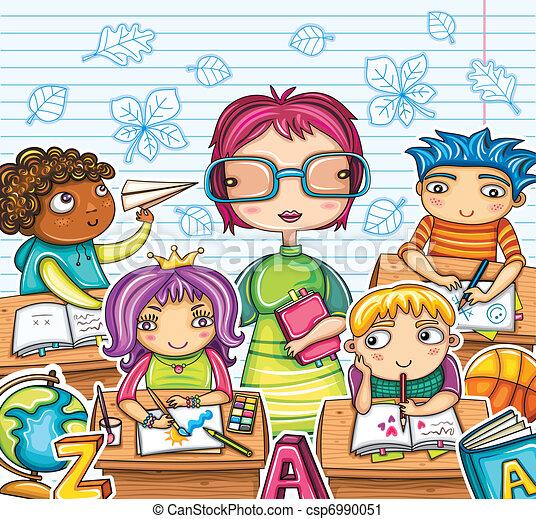 Teacher and cute children - csp6990051