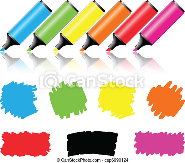Highlighter pen with scribbles on a blank piece of paper - csp6990124