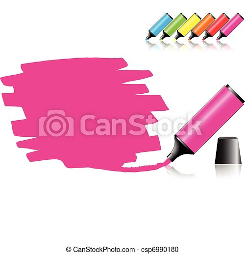 Vector Clipart of Highlighter pen with scribbles on a blank piece ...