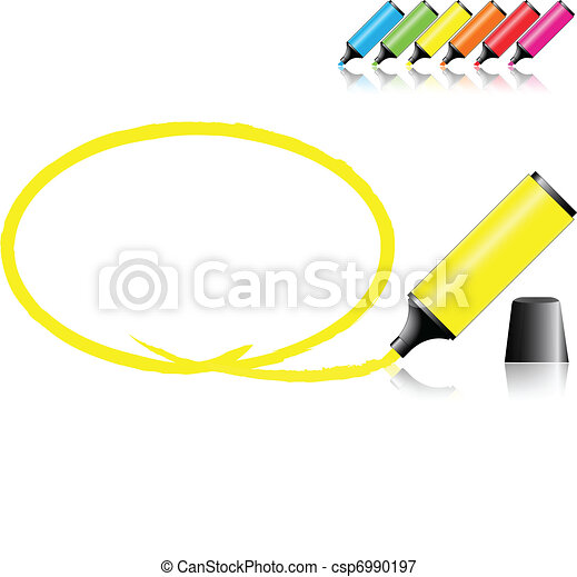 marker pens with a selected area in various colors - csp6990197