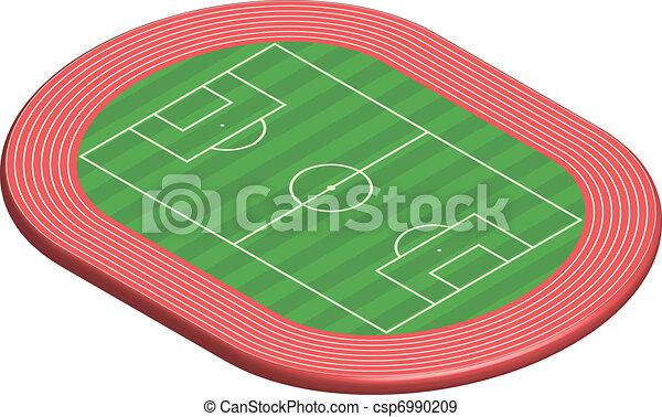 EPS vectores de 3, dimensional, fútbol, campo, tono, por, Pista ...
