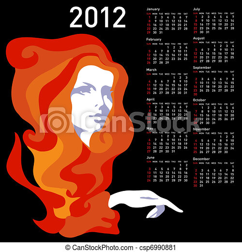 Stylish calendar with woman  for 2012. Week starts on Sunday. - csp6990881