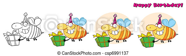 Bday Grinning Bumbe Bee - csp6991137