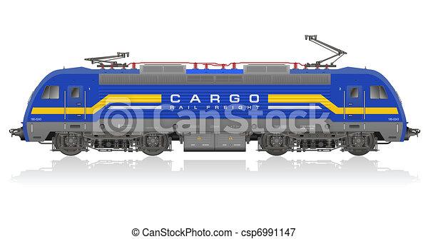 Blue electric locomotive - csp6991147