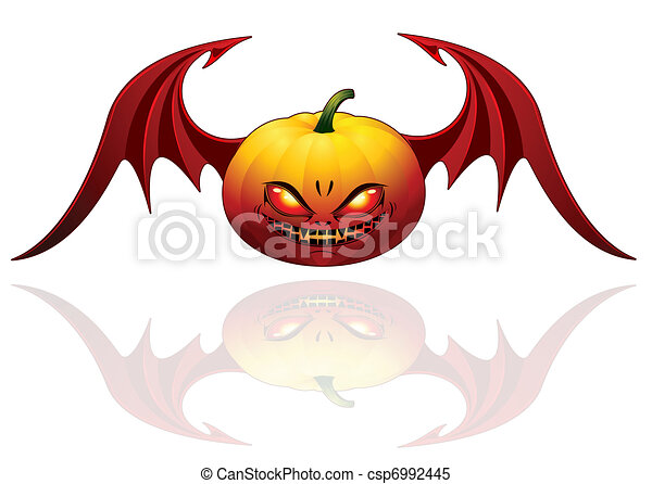Halloween pumpkin with wings  - csp6992445