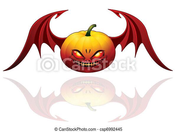 Halloween pumpkin with wings  - csp6992445
