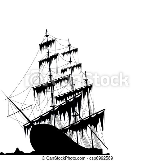 Black old ship at the sea ground - csp6992589