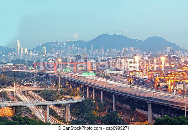 Hong Kong Bridge of transportation ,container pier. - csp6993271