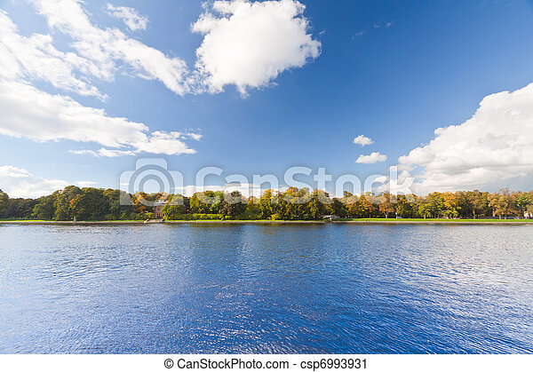 Panoramic landscape view and clear blue sky.