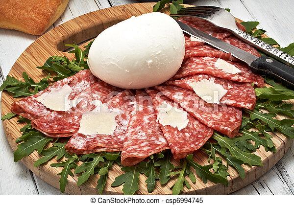 mozzarella and pepperoni - csp6994745