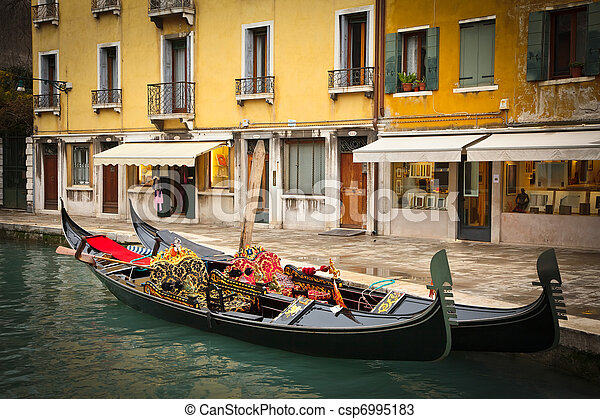 Traditional gondoles in Venice - csp6995183