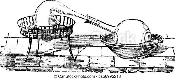Simple Distillation Apparatus, vintage engraving - csp6995213