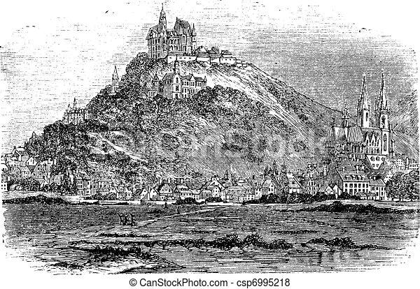 Marburg in Hessen Germany vintage engraving - csp6995218